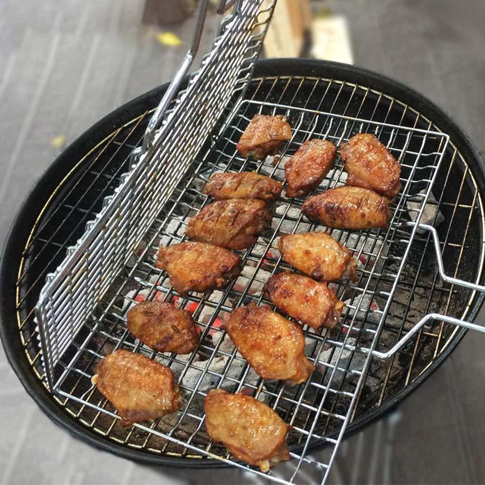 Portable Grilling Basket Non-stick Grilling Basket BBQ Barbecue Tool Grill Mesh BBQ Net Vegetable Steak Meat Picnic Party Tools