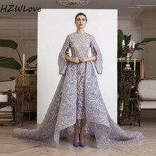 Pakistan High Low Evening Dresses O Neck Sequins Beading Full Sleeves Prom Dress Dubai African Women Formal Wear robe de soiree