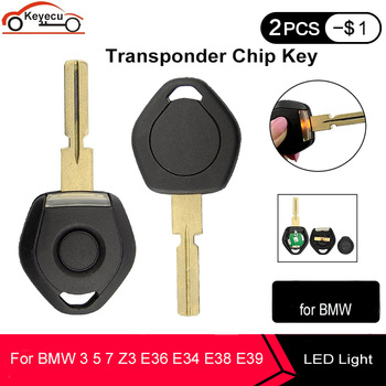 KEYECU Old Style Key ID44 For Bmw 3 5 7 Z3 E36 E34 E38 E39 Transponder Key Shell Remote Car Key Case 4 Track HU58 With LED Light image