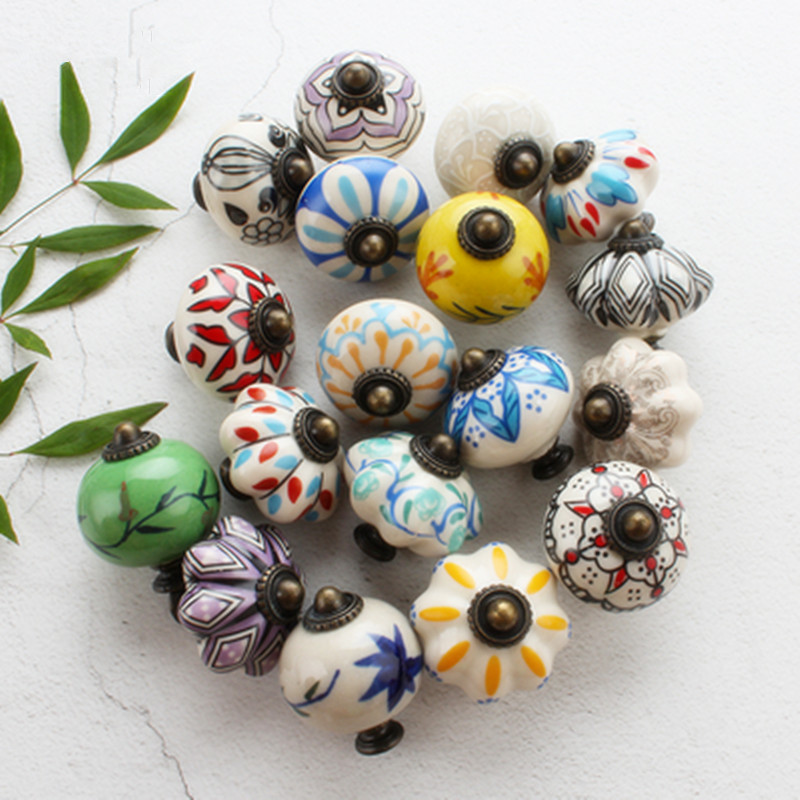 1PC Decorative Ceramic Cupboard Door Knobs, Vintage Porcelain Dresser Drawer Knobs Pulls Furniture Cabinet Knobs Handles