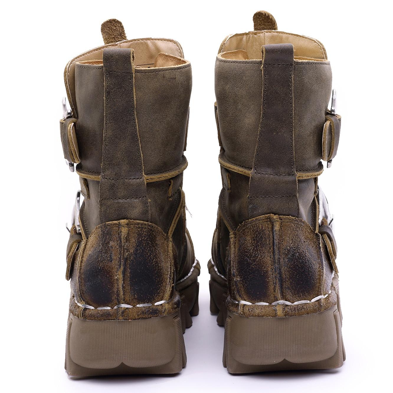Botas de combate militares de motocicleta de cuero genuino estilo Vintage y único para hombre con calavera-in Botas de motocicleta from zapatos    3