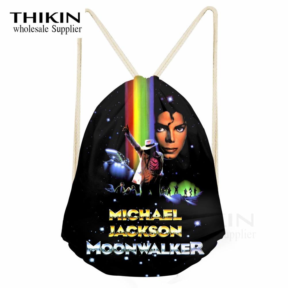 THIKIN Michael Jackson Print Polyester Beam Pocket Drawstring Bag For Kids Boys Ball Pockets Fashion School Girls Shoulder Bags