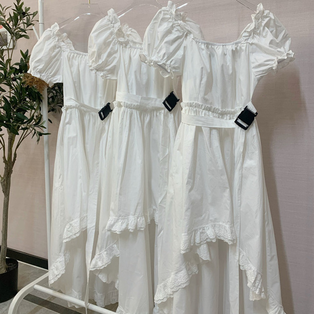 Elegant Casual  Summer Dress   Vintage Puff Sleeve Irregular Lace  6