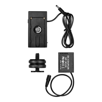 NP-W126 Dummy Battery Coupler With Straight Cable + NP-F970 F750 Battery Plate Holder for Fuji Cameras X-A1/X-A2/X-A3/X-E1/X-E2/