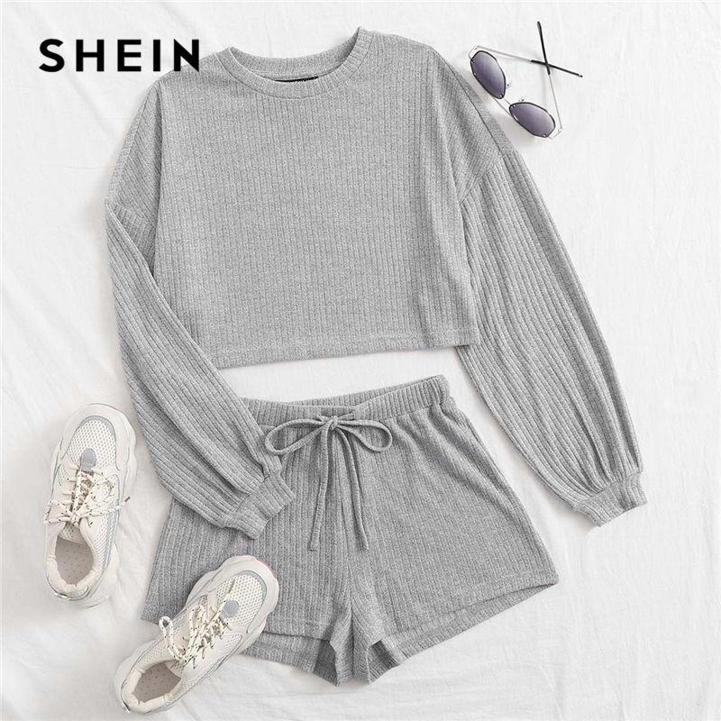 SHEIN Drop Shoulder Rib-knit Tee and Drawstring Waist Shorts Set Women 2020 Autumn Long Sleeve Crop Top Casual Two Piece Sets