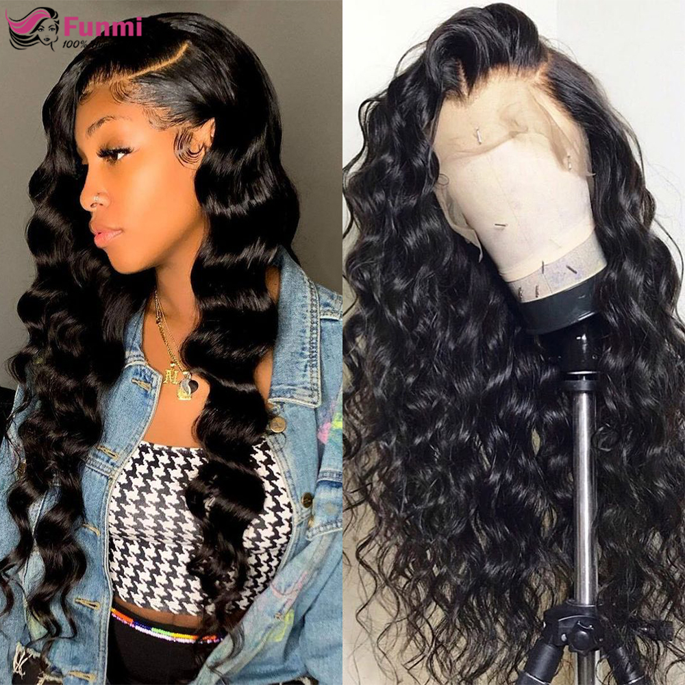 Loose Deep Wave Wigs Lace Front Human Hair Wigs Peruvian Pre Plucked 4x4 Lace Closure Wigs For Black Women Glueless Remy Hair