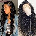 Глубокая волна парики Синтетические волосы на кружеве человеческих волос парики перуанские человеческие 4x4 кружева закрытие волос парики ...