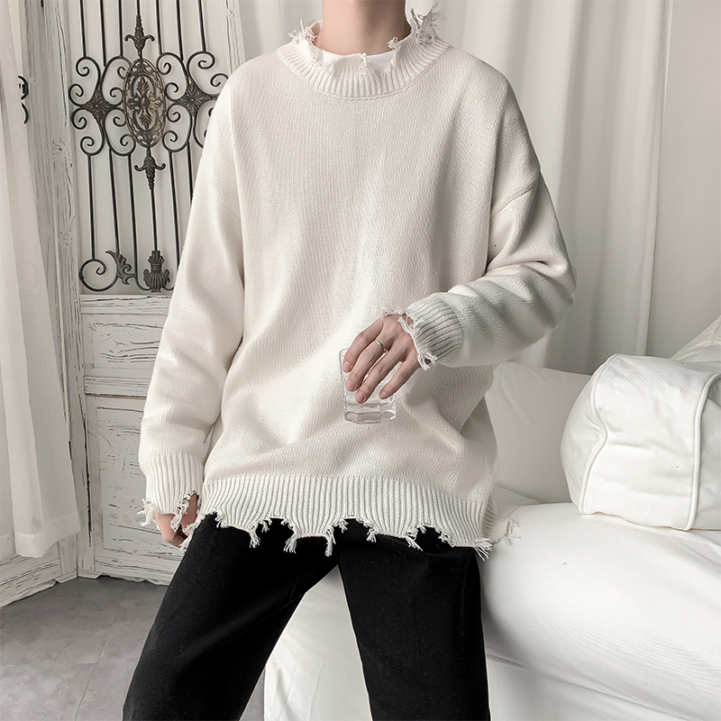 Loose Hole Sweater Men's Fashion Solid Color Casual O-neck Knit Pullover Men Streetwear Knitting Sweaters Male Sweter Clothes