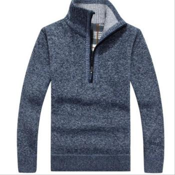 OLOEY 2019 Men's Thick Warm Coats Stand Collar Pullover Jackets Winter Autumn Knitwear Male Fashion Zipper Cardigan