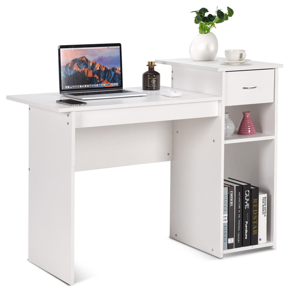 Costway Computer Desk PC Laptop Table W/ Drawer And Shelf Home Office Furniture White