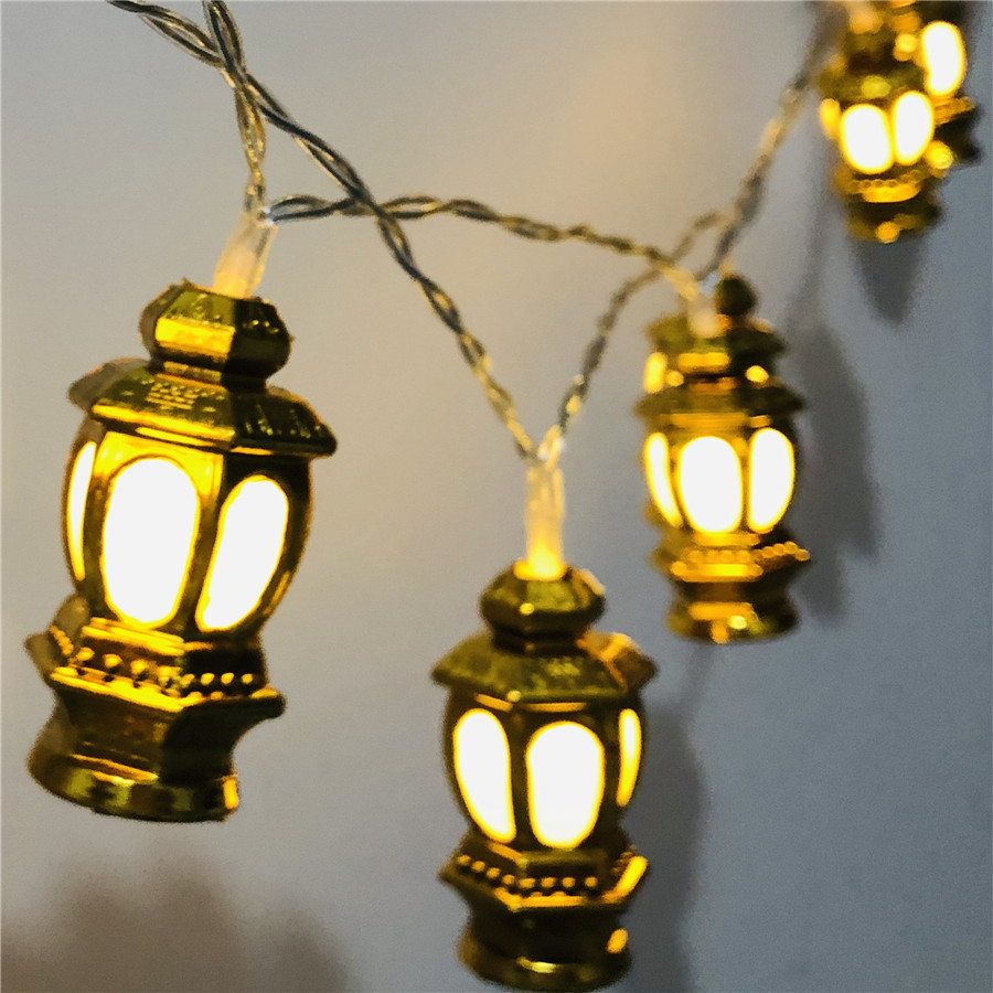 BEIAIDI 10 20 LED Ramadan Oil Lantern Fairy String Light Battery Powered Golden Palace Lantern Halloween Party Wedding Christmas Tree Fairy String Garland