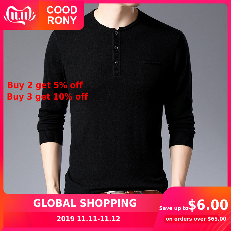 COODRONY Sweater Men Streetwear Fashion Pull Homme Autumn Winter Pure Merino Wool Sweaters Soft Warm Cashmere Pullover Men 93008