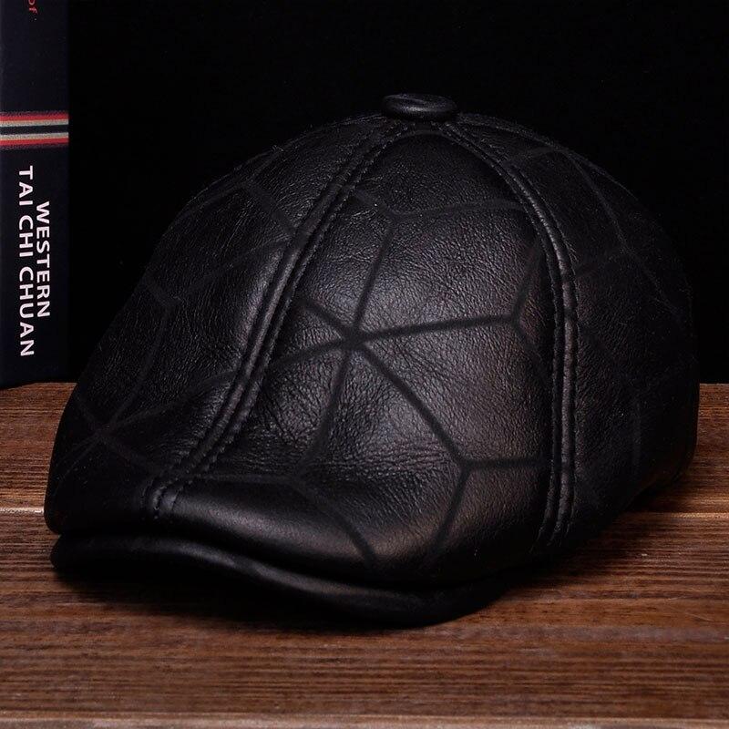 HL113 2019 hommes béret gavroche oreille rabat chapeaux avec vraie fourrure de laine à l'intérieur en cuir véritable casquette de baseball chapeau