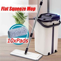 Flat Squeeze Mop and Bucket Hand Free Wringing Mop Magic Automatic Spin Floor Lazy Cleaning Mop With Microfiber Pads