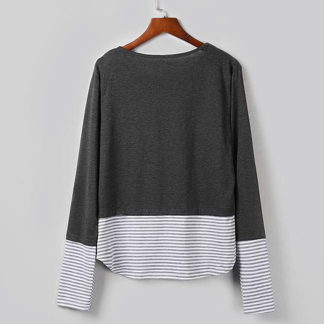 Fashion Striped Sequins Blouse Patchwork Casual Winter Ladies Loose Bottom Tops Female Women Long Sleeve Shirt Blusas Pullover 5