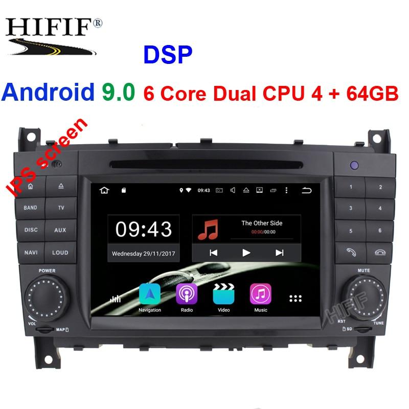 IPS 2 Din Auto Radio Android 9.0 pour Mercedes/Benz/W203/CLK200/CLK22/C180/C200 CANBUS voiture multimédia lecteur DVD vidéo GPS DVR