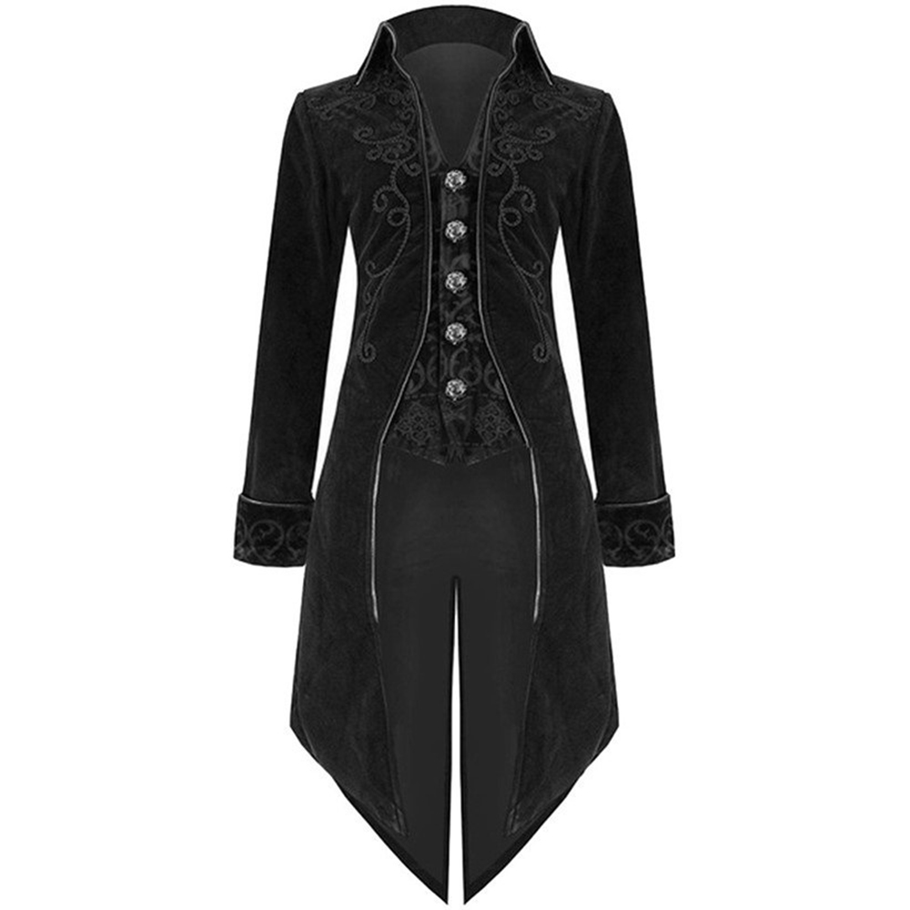 Plus Size S-5XL Autumn and Winter Men`s Fashion Clothing Fashion Gothic Steampunk Windbreaker Dress Coat (6)