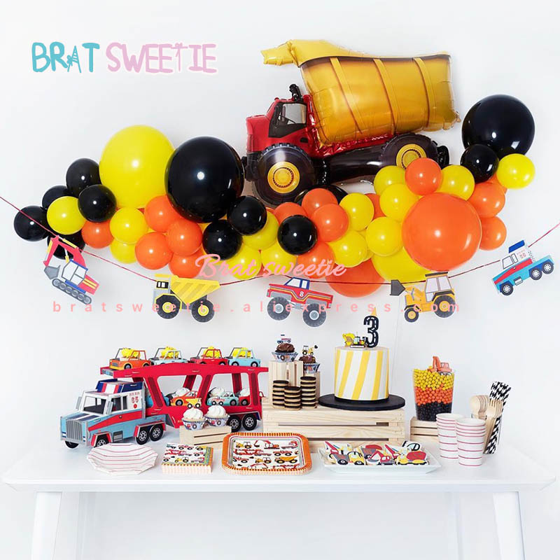 Construction Party Foil Balloons Fire Truck Excavator Balloon Baby Shower Birthday Party Decorations Kids Boys Theme Supplies Ballons Accessories Aliexpress