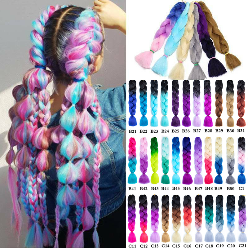 WERD High Quality Natural 24 Inch Giant Braid Long Wig Synthetic Woven Hair Crochet Blonde Pink Blue Grey Hair Extension Africa
