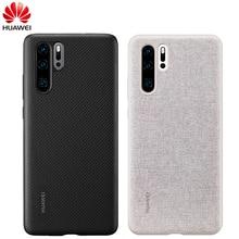 Huawei P30 durumda Huawei resmi orijinal deri koruyucu kapak karbon/tuval Fiber iş tarzı Huawei P30 kılıfı