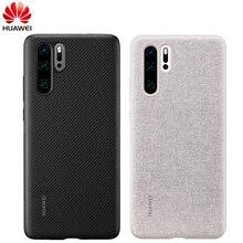 Huawei p30 caso de huawei oficial couro original protecive capa carbono/lona fibra estilo negócio huawei p30 caso