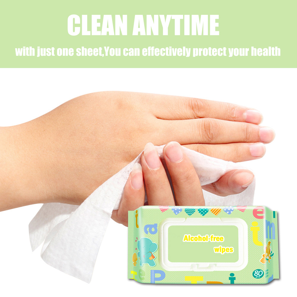 80pcs/pack Portable Hand Cleaning Wipes Kitchen Cleaning Alcohol Paper Towels Sanitary Wet Napkins Disinfecting Wipes For Virus