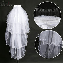 Voile Mariage 1.5 M Four Layers White Ivory Short Wedding Veil With Pearls Bridal Veil With Comb Bowknot Veu de Noiva(China)