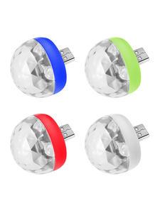 Mini USB Led Light Disco Lamps Stage Xmas Party DJ Karaoke Car  Lamp Cellphone Music Control Crystal Magic Ball Colorful Light