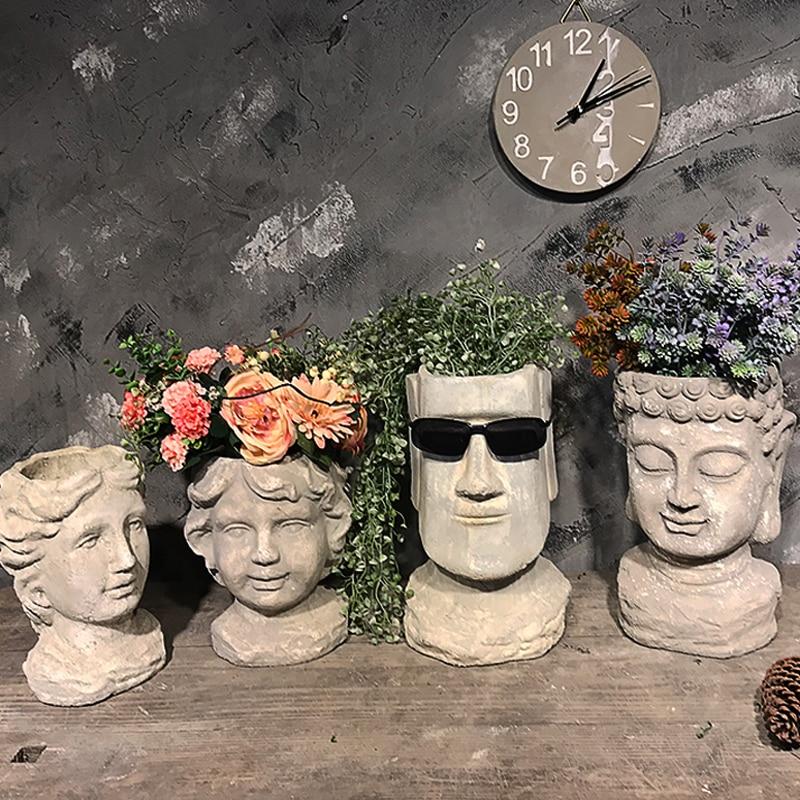 cement Flower Pot Planters Man Head Vintage Vase Statue Decoartion Courtyard Furnishing