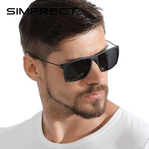 Óculos de Sol Retrô e Vintage Simprect Polarizado Masculino Quadrado Antirreflexo Tr90 2020 Tac Uv400 Homens