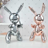 Balloon Rabbit Art Figurine Craft Shiny Balloon Dog Statue Home Decoration Accessories Xmas Gift Resin