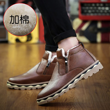 Brown Men Boots Winter Boots Casual Shoes Men Fashion Warm Plush Snow Boots Ankle Boots Fur Leather Footwear Botas Size 39-44 unisex leather boots fashion winter autumn motorcycle martin boots men casual ankle boots warm couple snow boots big size