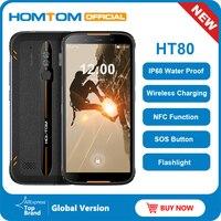 Homtom ht80 ip68 à prova dlágua smartphone 4g lte android 10 5.5 polegada 18:9 hd + mt6737 quad core nfc carga sem fio sos telefone móvel