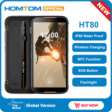 Homtom ht80 smartphone à prova d água ip68, 4g lte, android 10, 5.5 polegadas, 18:9 hd + mt6737, quad core, nfc, sem fio celular sos de carga