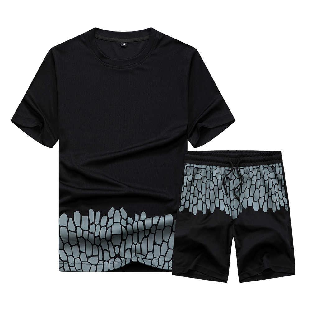 Conjuntos para hombre informales, traje deportivo liso de verano de dos piezas, camisetas + Pantalones cortos, ropa deportiva para hombre, chándal de talla europea de secado rápido para Jogger Slim Fit
