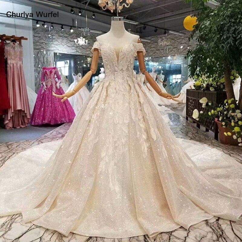 LSS083 dentelle brillante bling robes de mariée hors de l'épaule chérie robes de mariée avec long train en 2018 liste des meilleurs vendeurs