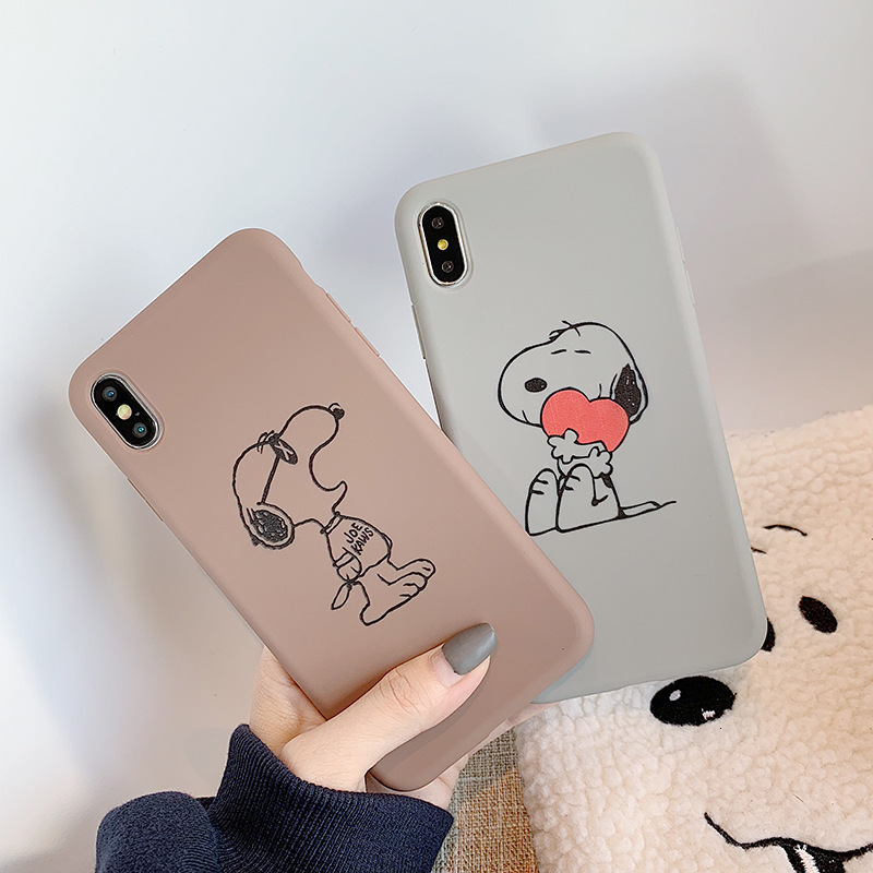 Image 2 - Cute love Snoopy phone case for iPhone11 X XS XR XSMax 8 7 6 6S PluS silicone soft shell couple drop protection cover-in Fitted Cases from Cellphones & Telecommunications