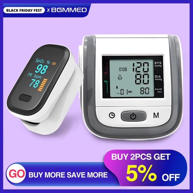 BGMMED רפואי אצבע דופק Oximeter & יד LCD לחץ דם בריאות משפחה נסיעות חבילות