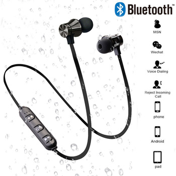 цена на Hot Bluetooth Earphone Stereo Headset  Bluetooth Earphone Magnetic Wireless music headset Phone Neckband sport Earbud Earphone