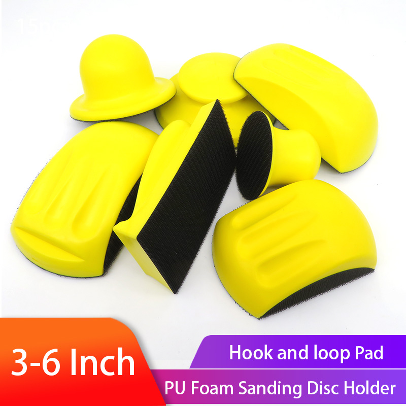 Sanding Disc Holder Sandpaper Backing Polishing Pad Hand Grinding Block PU Foam Sanding Disc