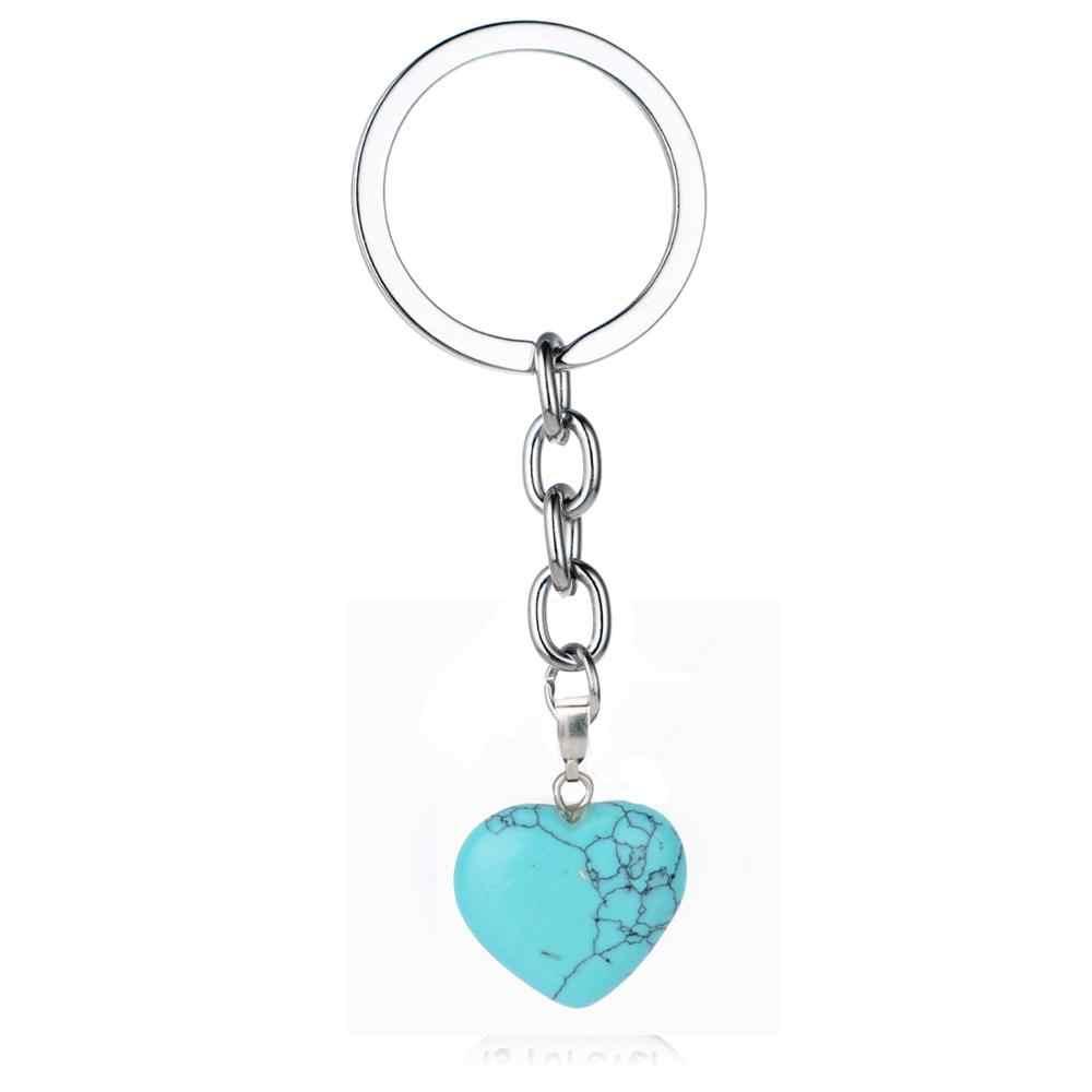 Rose Pink Tiger Eye Heart Charm หินธรรมชาติคีย์โซ่แหวนคริสตัลควอตซ์พวงกุญแจของขวัญผู้หญิงผู้ชายเครื่องประดับ Keychains ของขวัญ