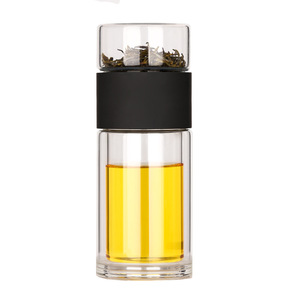 Image 5 - Taza de agua de cristal de doble capa, taza transparente portátil de alta resistencia a la temperatura, té, creativa, separación de agua del té