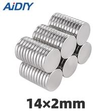 AIDIY 10/20/lot Pcs 14x2mm N35 Round Neodymium Magnet Sheet Super Strong Disc Rare Earth Speaker Magnets For Craft Fridge 14*2mm