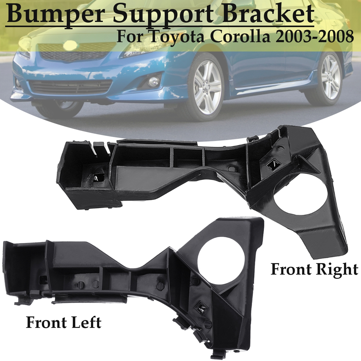 Front Right Left Bumper Spacer Bracket Black For Toyota Corolla 2003 2004 2005 2006 2007 2008 5211602061 TO1066142