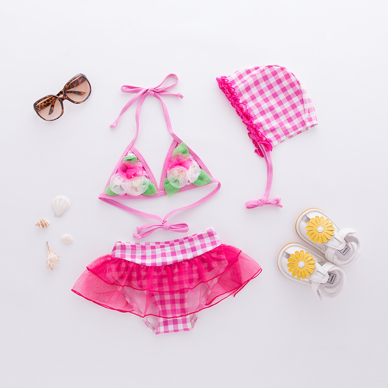 Girls' Two-piece Swimsuit Red And White Plaid Flower With Hat-3 Pieces Children Hot Springs Tour Bathing Suit