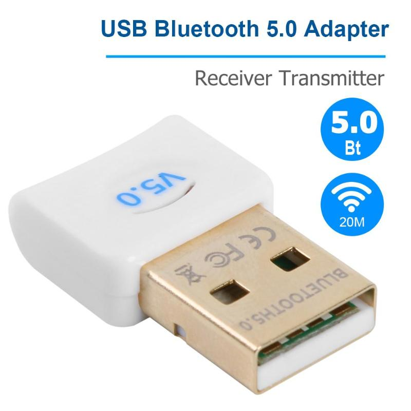 Bluetooth 5.0 Dongle Receiver Transmitter Wireless USB Adapter With CD Built-in Driver for Windows 7/8/10/Vista/XP Mac OS X image