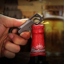 Multi-function Key Ring Corkscrew And Wine Stopper Set Alloy Material Wine Bottle Opener With LED Light Keychain(China)