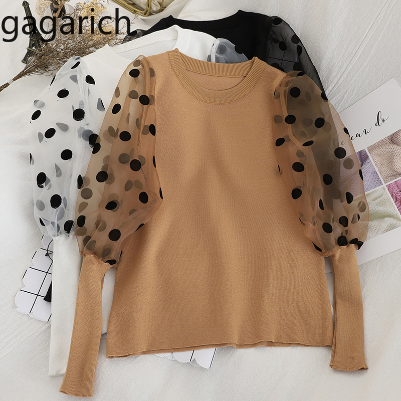 Gagarich Sweet Girls Sweater Autumn New Wave Point Lantern Sleeve Patchwork O-neck Kintted Pullovers Korean Slim Fit Women Tops