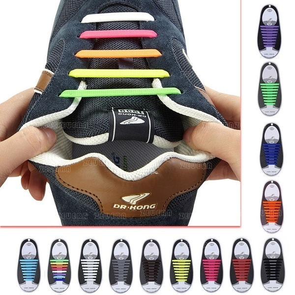 Lazy No Tie Elastic Silicone Shoelace Wash-free Shoe Laces For Sneakers Running Shoes Boots Cheap  Mens