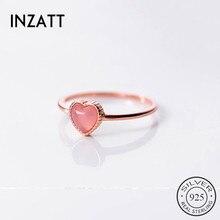 INZATT Настоящее серебро 925 пробы Розовый Камень Серебряное кольцо с сердцем для модных женщин модные милые ювелирные изделия аксессуары подарок